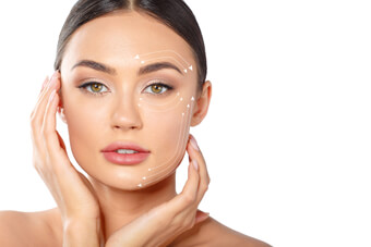 Φωτογραφία με πρόσωπο γυναίκας που είναι έτοιμο για αισθητικές επεμβάσεις στο πρόσωπο